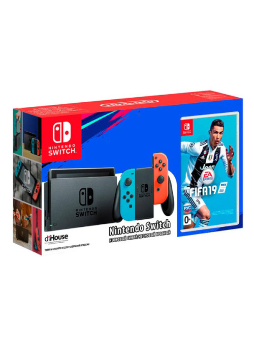 Игровая приставка Nintendo Switch (Neon Red/Neon Blue) + Игра FIFA 19