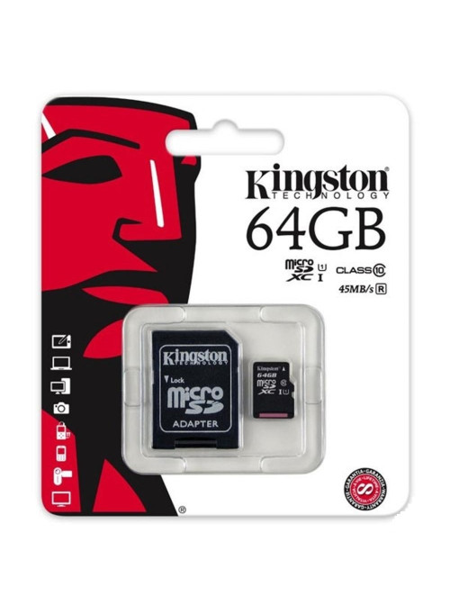 Карта памяти Kingston microSDXC UHS-I 64Gb Class 10 + SD adapter