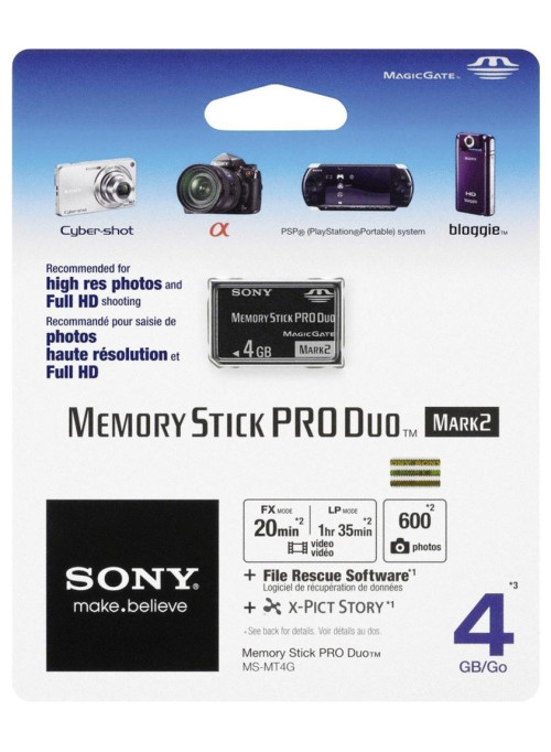 Карта памяти Sony Memory Stick PRO DUO 4GB Mark2