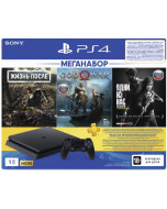 Игровая приставка Sony PlayStation 4 Slim 1TB Black (CUH-2208B) + Жизнь после + God Of War + Одни из нас + PS Plus 90 дней