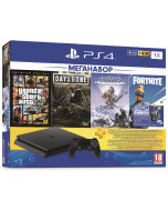 Игровая приставка Sony PlayStation 4 Slim 1TB Black (CUH-2208B) + GTA 5 + Жизнь после + Horizon Zero Dawn + Fortnite + PS Plus 90 дней