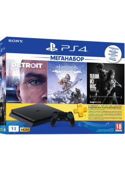Игровая приставка Sony PlayStation 4 Slim 1TB Black (CUH-2208B) + Detroit + Horizon Zero Dawn + Одни из нас + PS Plus 90 дней